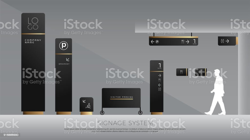 exterior and interior signage concept. direction, pole, wall mount and traffic signage system design template set. empty space for logo, text, black and gold corporate identity vector art illustration
