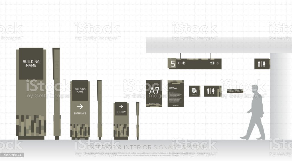 Exterior And Interior Signage System Direction Pole Wall