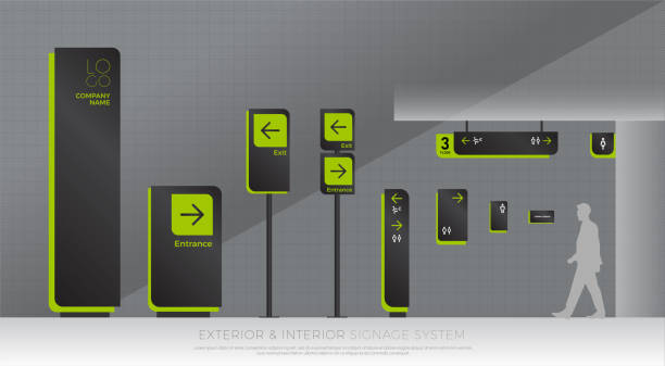 exterior and interior signage system. direction, pole, wall mount and traffic signage system design template set. empty space for symbol, text, green and black color corporate identity exterior and interior signage system. direction, pole, wall mount and traffic signage system design template set. empty space for symbol, text, green and black color corporate identity airport borders stock illustrations