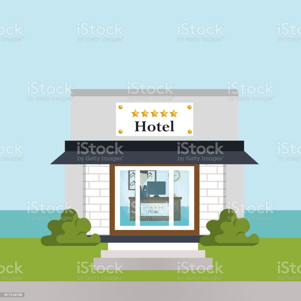 escena de edificio hotel exterior - ilustración de arte vectorial