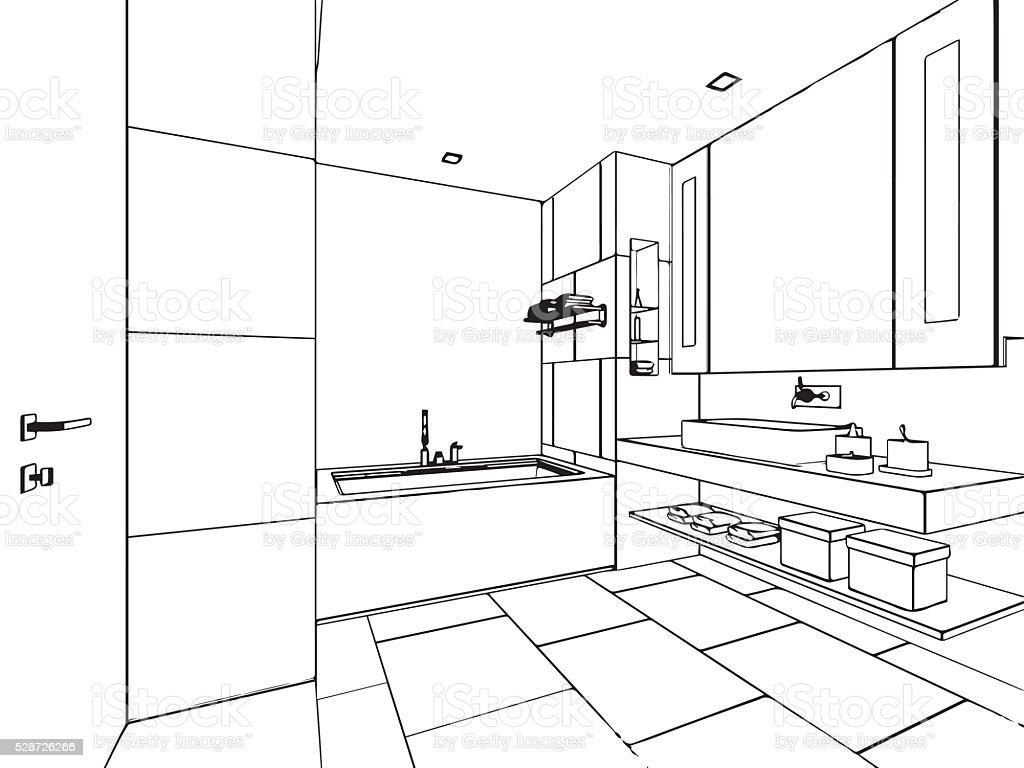 Haus Skizze Außenansicht – Vektorgrafik