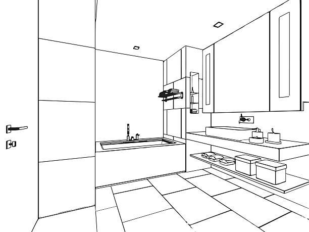 haus skizze außenansicht - badezimmer stock-grafiken, -clipart, -cartoons und -symbole