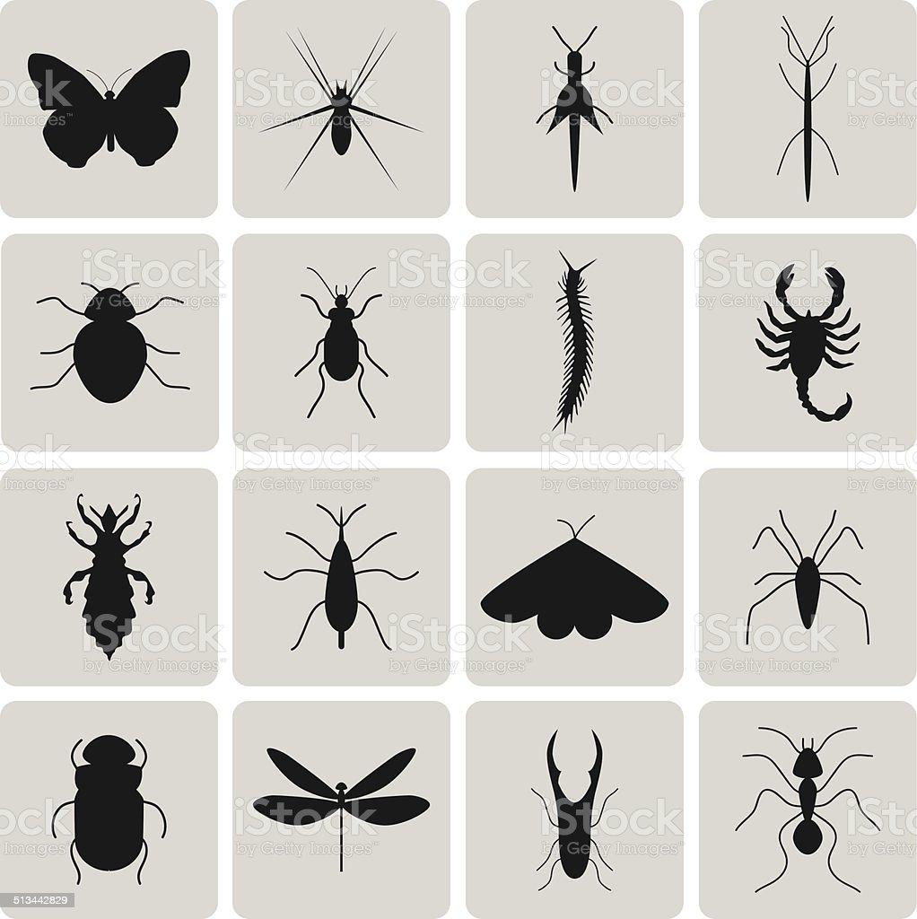 Kammerjäger Insekten Schwarz icon-set2.  Vektor-Illustration eps10 – Vektorgrafik