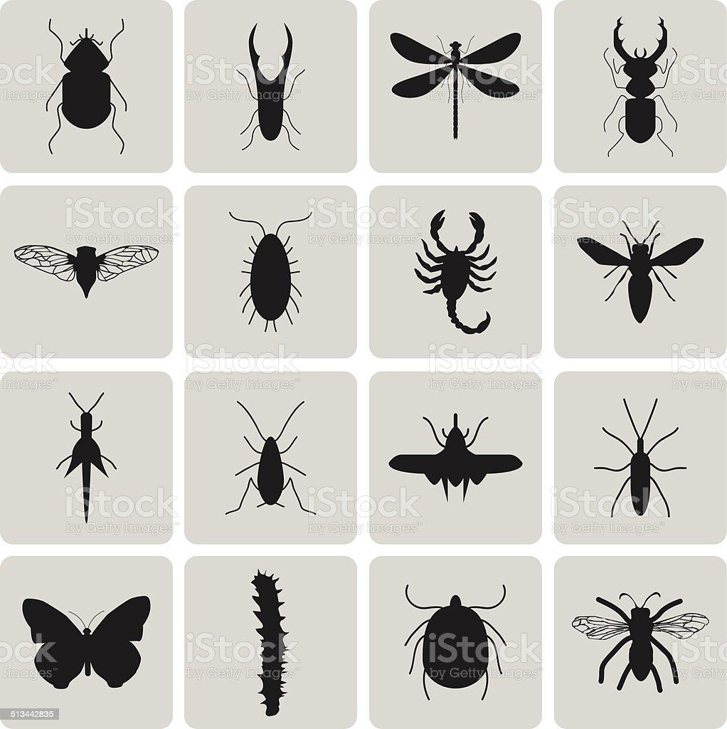 Kammerjäger Insekten Schwarz icon set3 zu wechseln.  Vektor-Illustration eps10 – Vektorgrafik