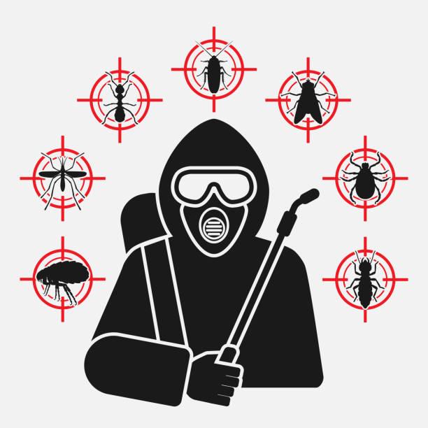 ausrotter mit sprühsilhouette umgeben von insektenschädlings-ikonen - mückenfalle stock-grafiken, -clipart, -cartoons und -symbole