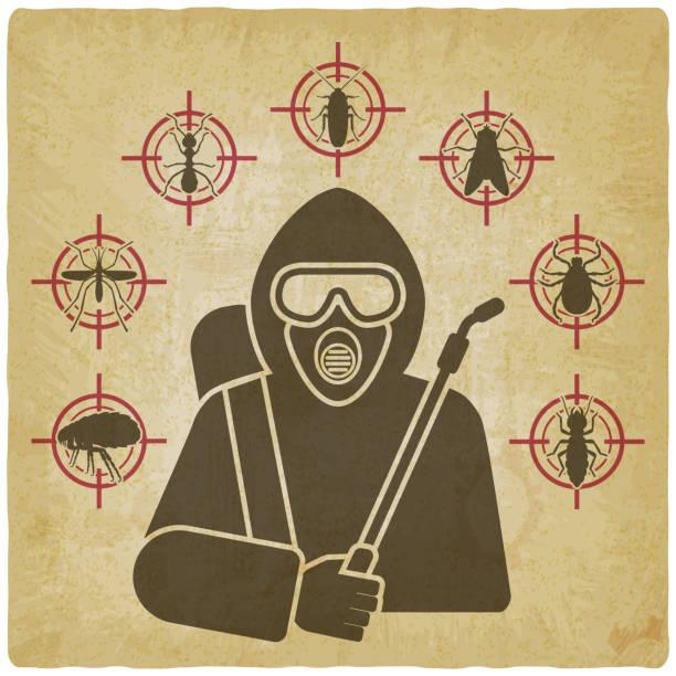 ausrotter mit sprüher silhouette umgeben von insektenschädling ikonen auf vintage-hintergrund - mückenfalle stock-grafiken, -clipart, -cartoons und -symbole