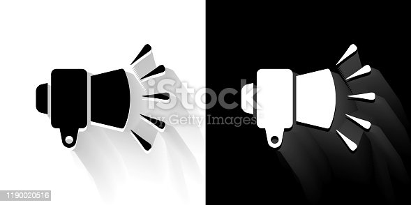 External Flash For Photography Black and White Icon with Long Shadow. This 100% royalty free vector illustration is featuring the square button and the main icon is depicted in black and in white with a black icon on it. It also has a long shadow to give the icons more depth.