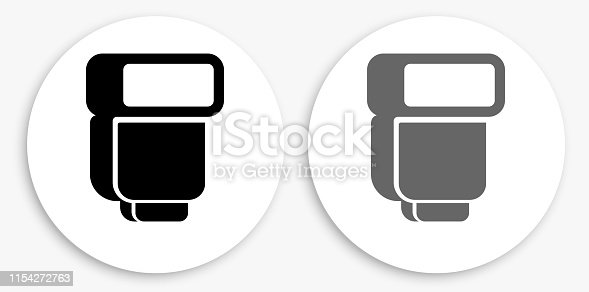 External Flash For Photography Black and White Round Icon. This 100% royalty free vector illustration is featuring a round button with a drop shadow and the main icon is depicted in black and in grey for a roll-over effect.