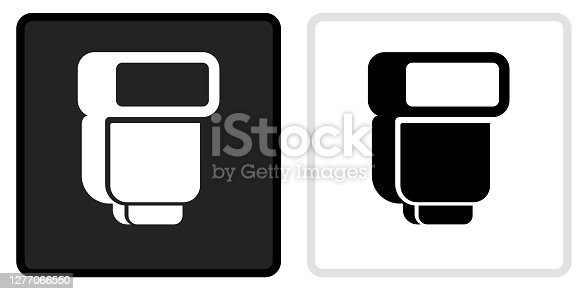 External Flash For Photography Icon on  Black Button with White Rollover. This vector icon has two  variations. The first one on the left is dark gray with a black border and the second button on the right is white with a light gray border. The buttons are identical in size and will work perfectly as a roll-over combination.