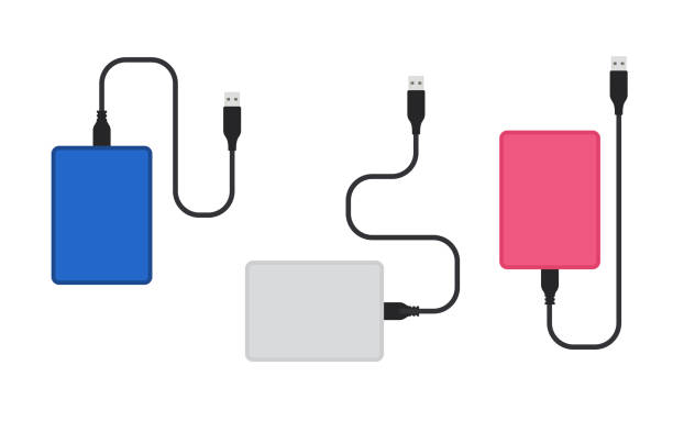 External hard disk drive with USB cable colorful set. Vector illustration isolated on white background External hard disk drive with USB cable colorful set. Simple flat vector illustration isolated on white background external hard disk drive stock illustrations