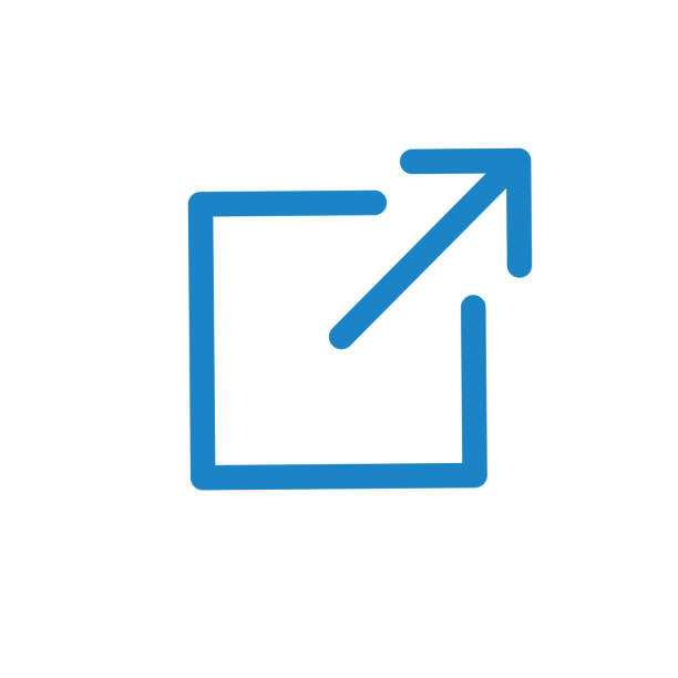 stockillustraties, clipart, cartoons en iconen met het externe pictogram van de verbinding-pijl die het verlaten van app toont om een externe website te bezoeken - schakel