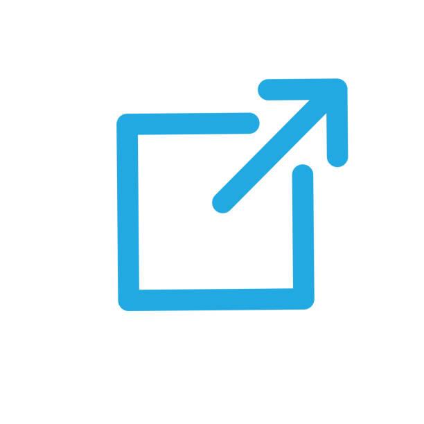 External Link Icon - arrow showing leaving the app to visit an external website External Link Icon with arrow showing leaving the app to visit an external website hyperlink stock illustrations