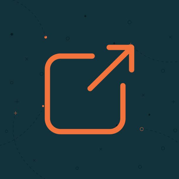 stockillustraties, clipart, cartoons en iconen met externe link icoon opent een nieuw venster in een ux ui app - schakel
