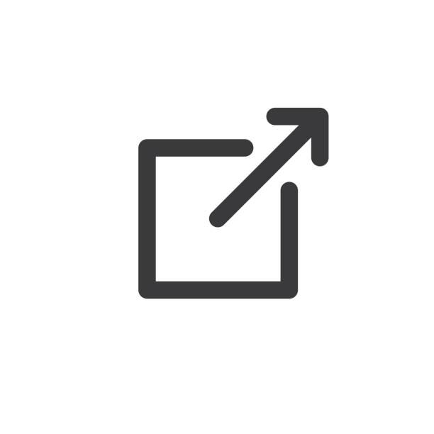stockillustraties, clipart, cartoons en iconen met externe link pictogram - schakel