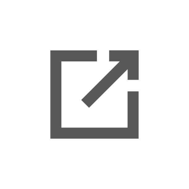 stockillustraties, clipart, cartoons en iconen met externe koppelingspictogram met pijl & doos voor het verlaten van de site - schakel