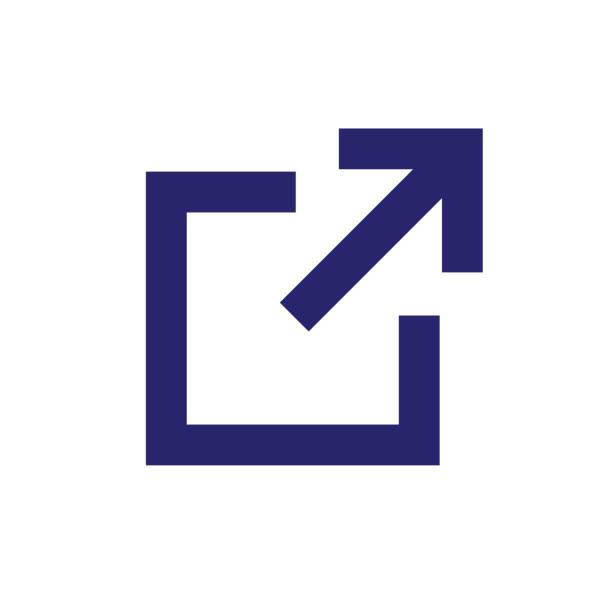 stockillustraties, clipart, cartoons en iconen met pictogram voor externe koppeling met vierkant & pijl, wijzend - raam bezoek
