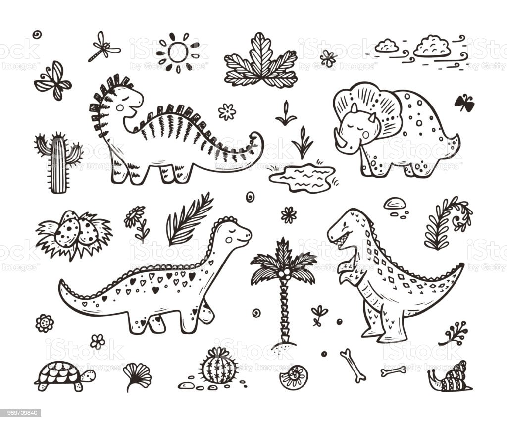 Image of: Dinosaur Extinct Animals Cute Cartoon Dinosaur Vector Set Hand Drawn Doodle Dinosaurs Tiranossauro Rex Design Tutsplus Envato Tuts Extinct Animals Cute Cartoon Dinosaur Vector Set Hand Drawn Doodle