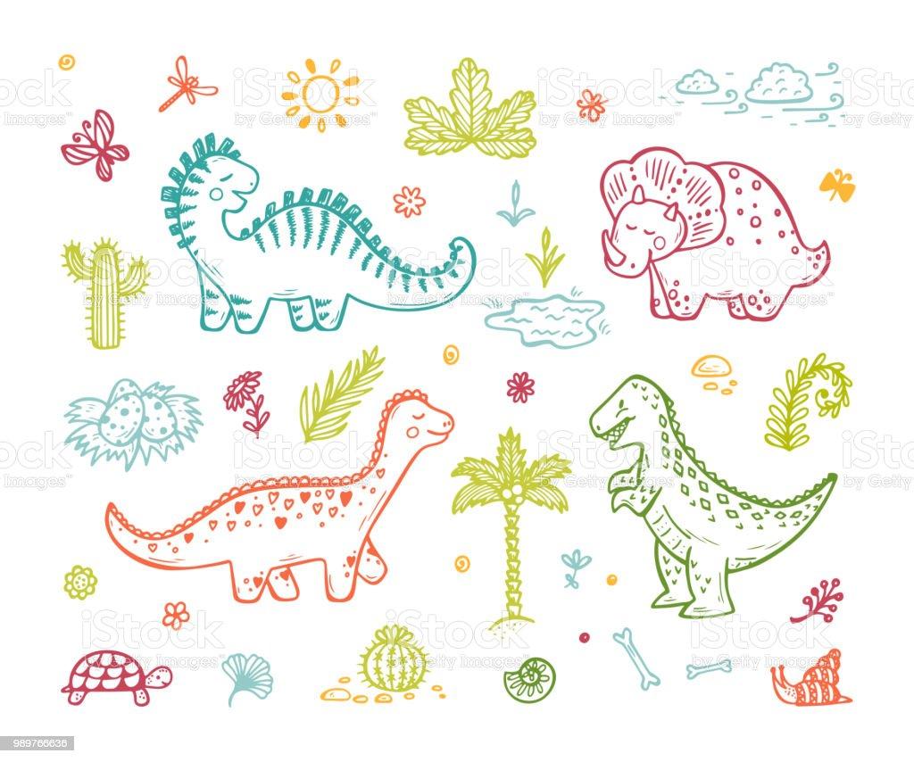Ilustración De Animales Extintos Conjunto De Vector De Dinosaurio De