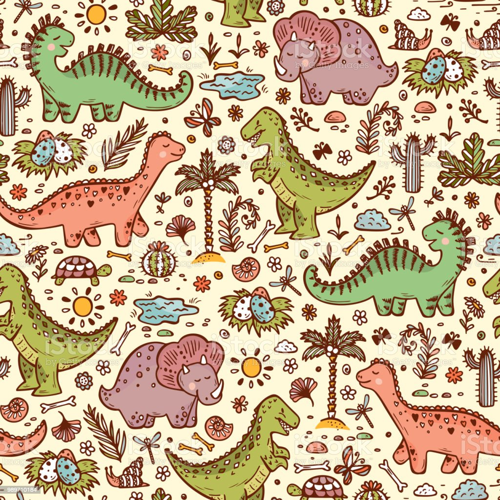 Extinct animals. Prehistoric Reptiles. Cute Cartoon Dinosaur Vector...