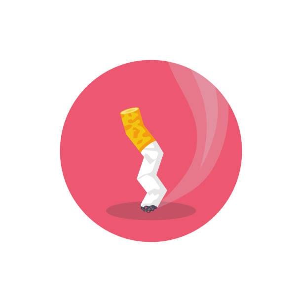 illustrazioni stock, clip art, cartoni animati e icone di tendenza di estinguere il culo di sigaretta. stile cartone animato. icona fumo - cicca sigaretta