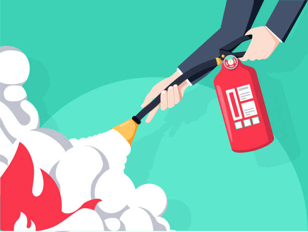 Extinguish fire. Fireman hold in hand fire extinguisher. Vector illustration flat design. Isolated on background. Extinguish fire. Fireman hold in hand fire extinguisher. Vector illustration flat design. Isolated on background. Protection from flame. Show training instructions. Foam from nozzle. extinguishing stock illustrations