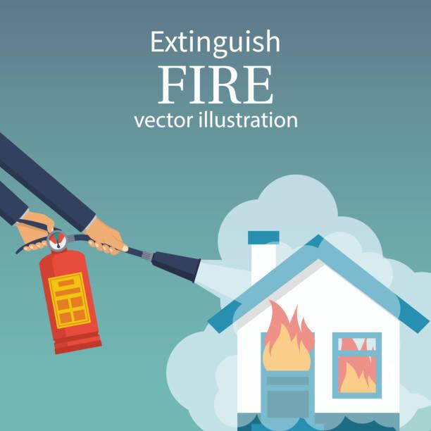 bildbanksillustrationer, clip art samt tecknat material och ikoner med släcka brand i hemmet. brinnande hus - house after fire