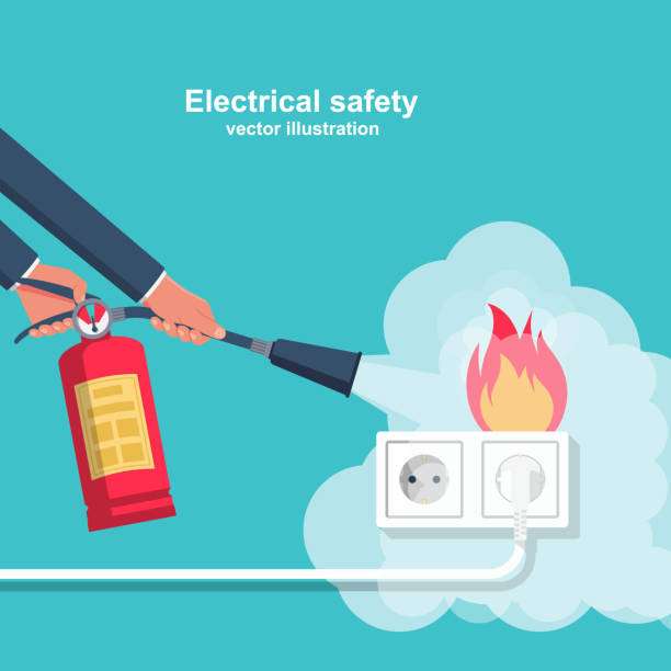 Extinguish fire wiring in home. Extinguish fire wiring in home. Socket and plug on fire from overload. Electrical safety concept. Vector illustration flat design. Fireman hold in hand fire extinguisher. Protection from flame. extinguishing stock illustrations