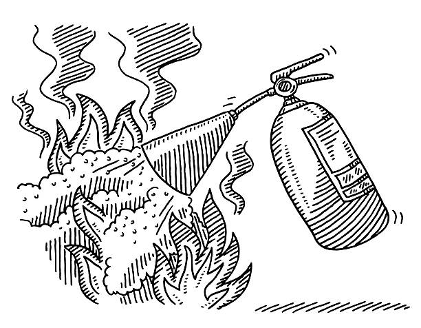 Royalty free white fire extinguisher clip art vector for Fire extinguisher coloring page