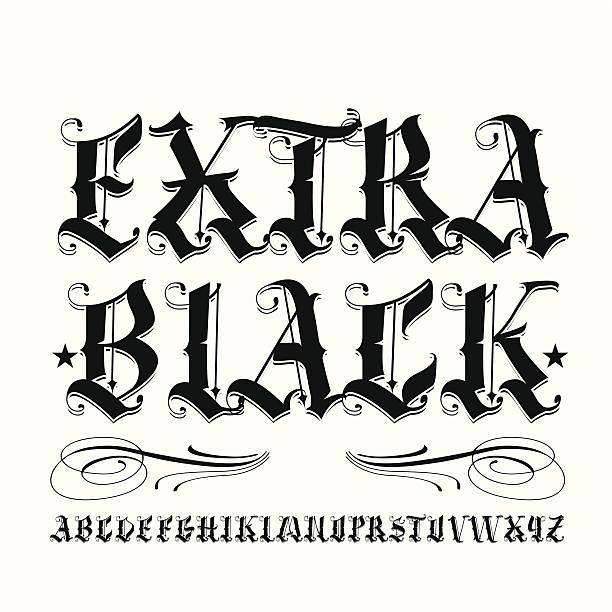 illustrations, cliparts, dessins animés et icônes de un noir - polices de tatouage