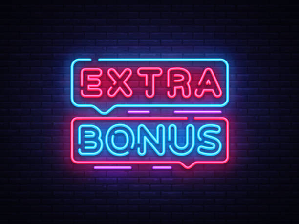 illustrazioni stock, clip art, cartoni animati e icone di tendenza di extra bonus neon sign vector. bonus neon text design template neon sign, light banner, neon signboard, nightly bright advertising, light inscription. vector illustration - bonus