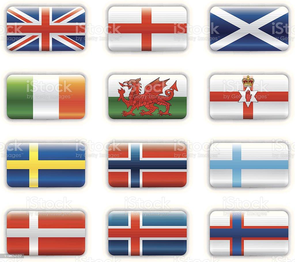 Extra glossy flags -  Britain & Scandinavia royalty-free stock vector art
