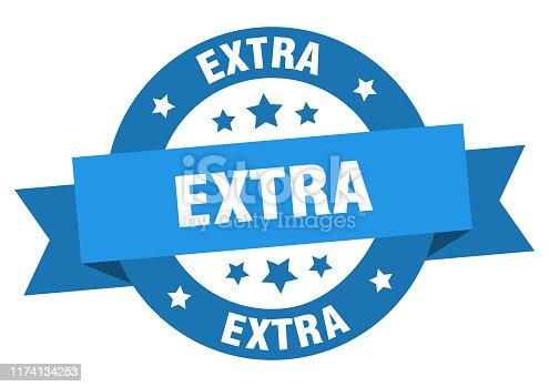 extra ribbon. extra round blue sign. extra