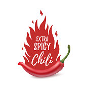 Extra spicy chili paper poster template.
