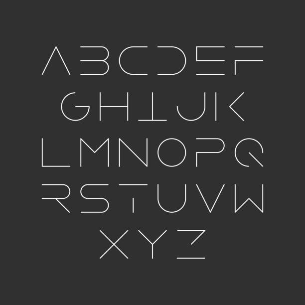 Extra thin line style font vector art illustration