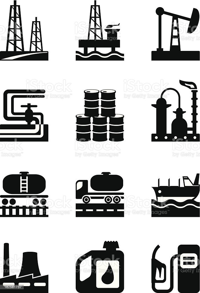 Extraction and processing of oil royalty-free stock vector art