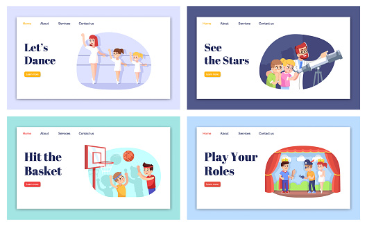 Extracurricular activities landing page vector template set. Interest classes for kids website interface idea with flat illustrations. Afterschool homepage layout. Web banner, webpage cartoon concept