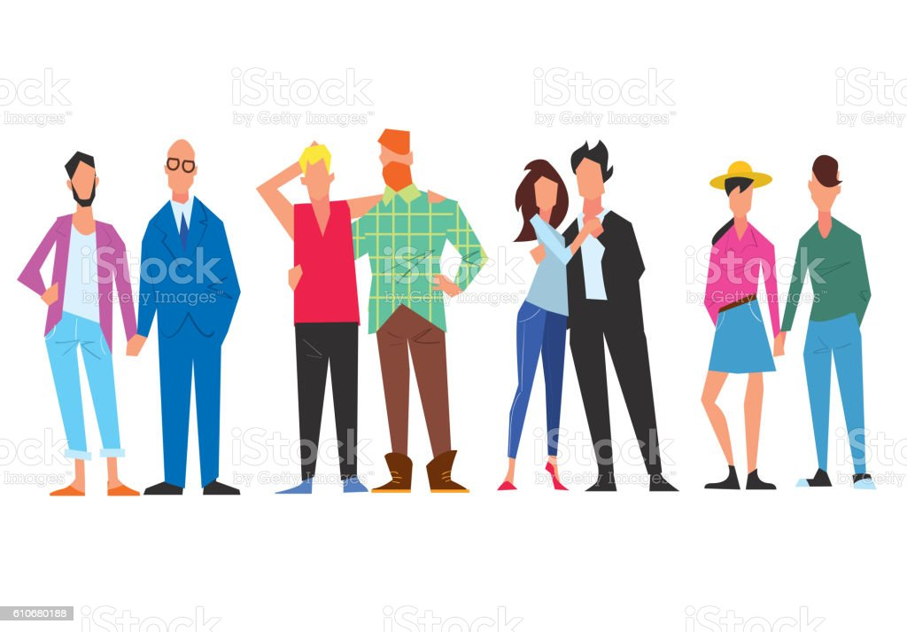 Extraordinary couples of different minorities. - Illustration vectorielle