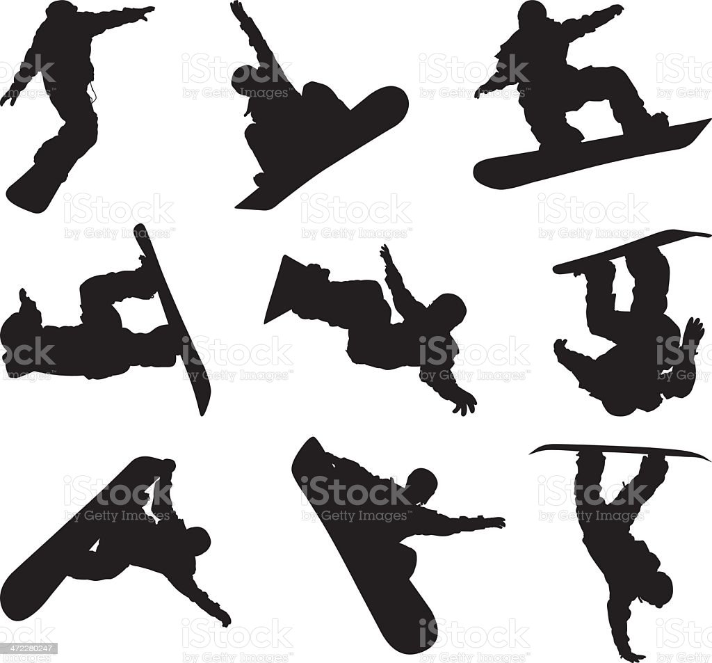 Extreme action snowboarding snowboarders vector art illustration