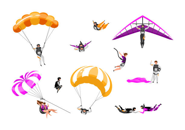 ilustrações de stock, clip art, desenhos animados e ícones de extreme air sport flat vector illustrations set. couple paragliding, skydiving, parasailing. parachuting, hang gliding. tandem freefalling, safe landing. outdoor activity isolated cartoon characters - parapente
