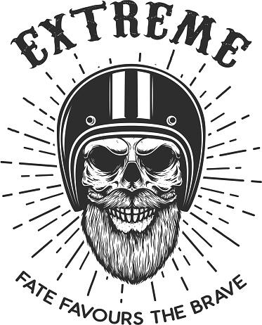 Extreme. Bearded skull in racer helmet. Design element for label, sign, emblem, poster, t shirt. Vector illustration