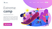 Kids skateboarding and riding a bike in skate park and trainers, tiny people. Extreme camp, summer extreme sports, kids extreme program concept. Website homepage landing web page template.