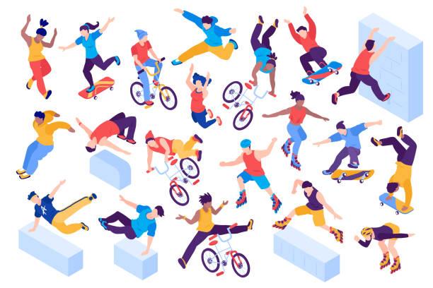 bildbanksillustrationer, clip art samt tecknat material och ikoner med extrem stads sport isometrisk uppsättning - parkour