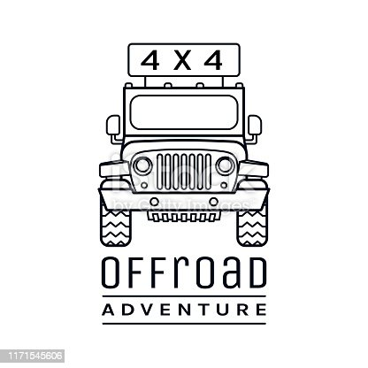 Extreme competition emblem. Off-roading suv adventure and car event design element. Beautiful vector illustration in black color isolated on a white background.
