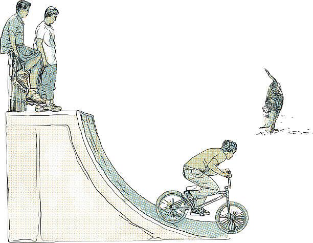 bildbanksillustrationer, clip art samt tecknat material och ikoner med extreme cyclist - skatepark