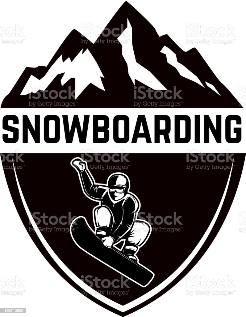 Extreme. Emblem with snowboarder. Design element for label, emblem, sign. vector art illustration