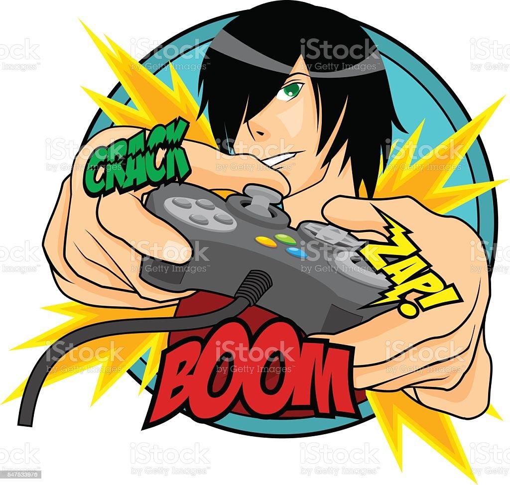 Extreme Gamer Guy vector art illustration