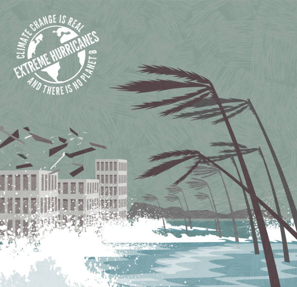 Extreme Hurricane with flying debris and waves pounding buildings, palm trees blowing over. Signs of Climate change. vector art illustration