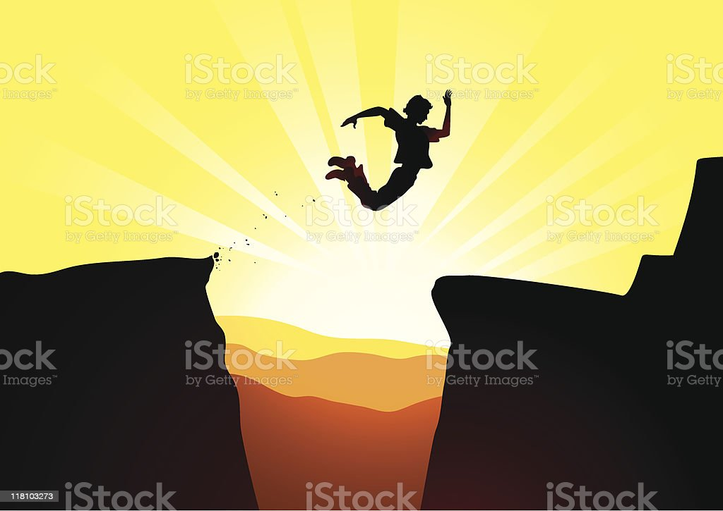 Extreme jump against a rising sun royalty-free extreme jump against a rising sun stock vector art & more images of adult