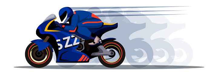 Extreme motor racer on bike design with shadow