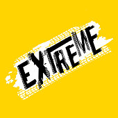 Off-Road extreme hand drawn grunge lettering. Tire tracks word made from unique letters. Beautiful vector illustration. Editable graphic element in yellow, white and black colours.